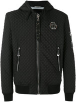 Philipp Plein quilted hooded jacket - men - Cotton/Spandex/Elastane/Polyester/Polyurethane - S