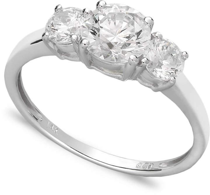 Arabella 14k White Gold Ring, Swarovski Zirconia Small Three Stone Ring (2-3/8 ct. t.w.)