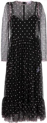 RED Valentino Polka Dot Mesh-Detail Dress