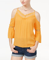 Amy Byer Juniors' Cold-Shoulder Bell Sleeve Top