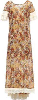 Anna Sui Broderie Anglaise-trimmed Printed Cotton And Silk-blend Midi Dress