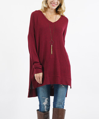 Melange Home Lydiane Women's Pullover Sweaters DK - Dark Burgundy V-Neck Side-Slit Tunic - Women
