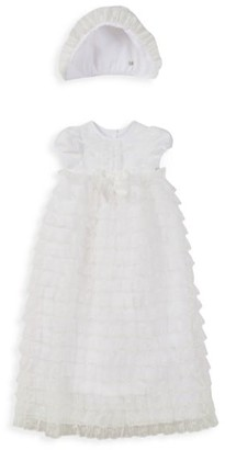 Pippa & Julie Baby's 2-Piece Tiered Lace Christening Gown