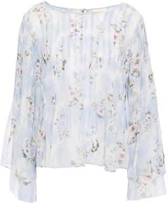 LoveShackFancy Paulette Pintucked Floral-print Silk-georgette Blouse
