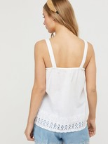Monsoon Suzie Organic Cotton Shiffli Cami - White