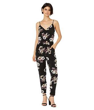 1 STATE 1.STATE Cross Front Floral Mirage Knit Jumpsuit