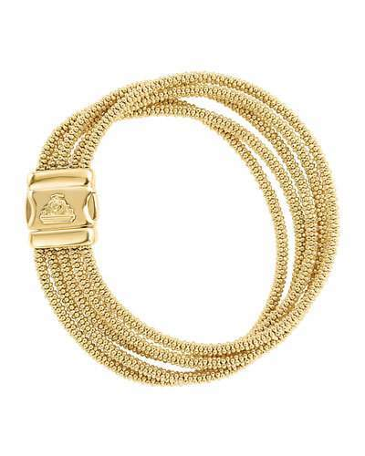 Lagos Medium Five-Row 18K Gold Caviar Rope Bracelet