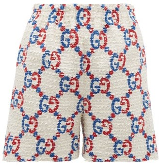 Gucci Gg Logo Jacquard Boucle Tweed Shorts - Womens - White Multi