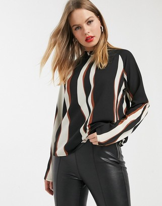Vero Moda blouse with high neck in black abstract print