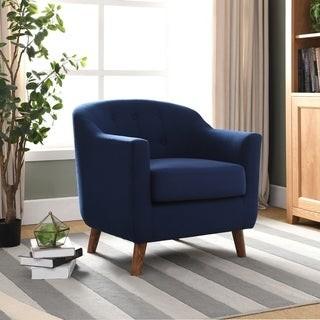 Furniture of America Naza Mid-Century Modern Fabric Barrel Club Chair