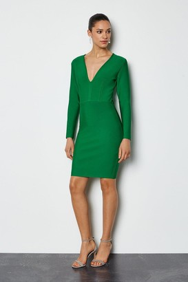Karen Millen Long Sleeve Deep V Short Bandage Dress