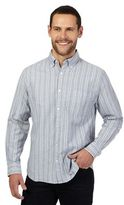 Maine New England Grey Striped Regular Fit Shirt