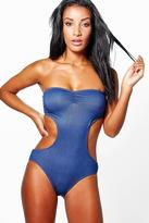 Boohoo Cancun Denim Look Cut Out Swimsuit