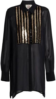 Figue Bohemian Rhapsody Capria Sequin Silk Tuxedo Blouse