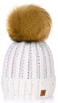 4sold Womens Ladies Winter Hat Wool Knitted Beanie with Large Pom Pom Cap SKI Snowboard Hats Bobble Gold Circle Little Crystals (Ecru)