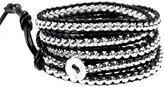 """Beautiful Silver Jewelry 39"""" Rhiannon Black Leather Silvertone Bead Wrap Bracelet, Adjustable 5x Wrap in Gift Box"""
