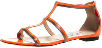 Jimmy Choo Neon Orange Patent Leather Tabitha Caged T Strappy Flat Sandals Size 40