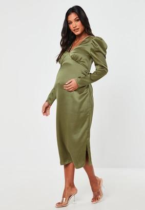 Missguided Khaki Satin Puff Sleeve Maternity Maxi Dress