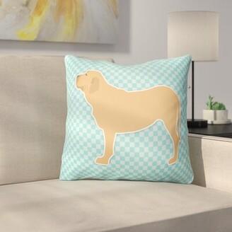 "Fila East Urban Home Brasileiro Indoor/Outdoor Throw Pillow East Urban Home Size: 14"" H x 14"" H x 3"" D, Color: Blue"