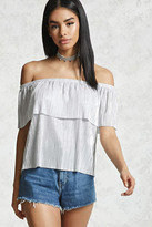 Forever 21 Glitter Knit Flounce Top