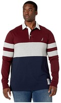 Nautica Big Tall Chest Stripe Rugby (Royal Burgundy) Men's Long Sleeve Pullover