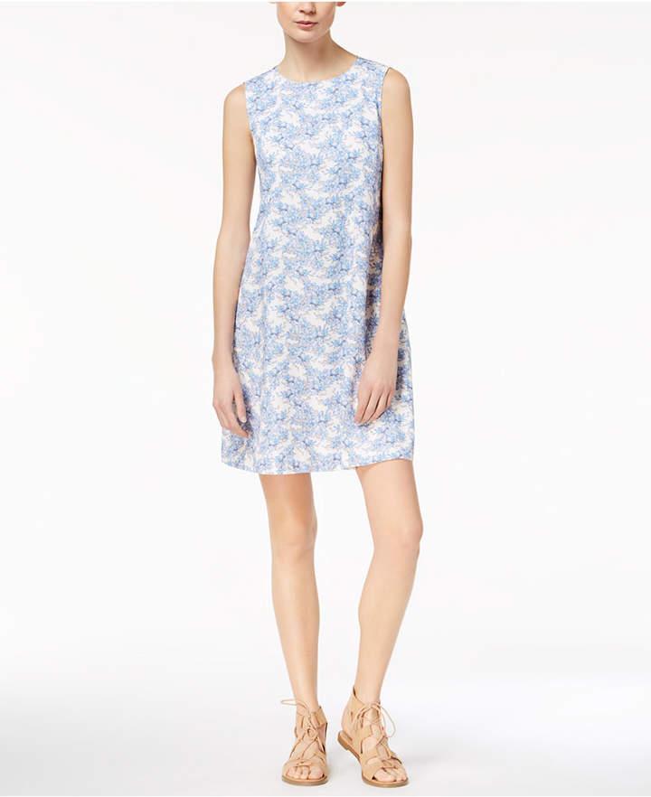Marella Cotton Stretch Faille Floral-Print A-Line Dress