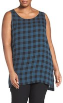 Eileen Fisher Scoop Neck Buffalo Check Silk Top (Plus Size)