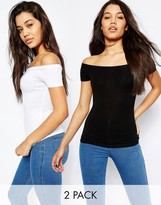 Asos Off The Shoulder Top With Short Sleeves 2 Pack
