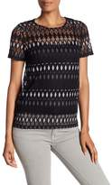 Laundry by Shelli Segal Embroidered Sheer Lace Tee