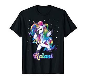 KALANI Name Personalized Custom Rainbow Unicorn Dabbing T-Shirt