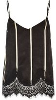 River Island Womens Black stripe lace hem cami top