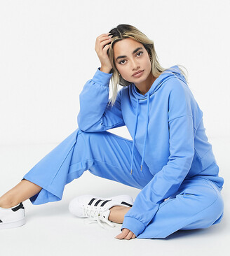 ASOS DESIGN Petite tracksuit hoodie / straight leg jogger with pintucks in blue
