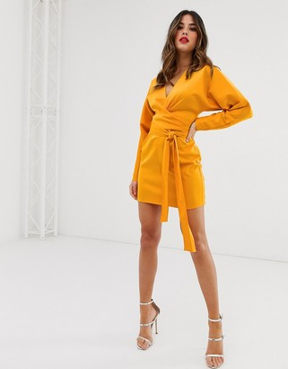Asos Design DESIGN mini dress with batwing sleeve and wrap waist in satin-Gold