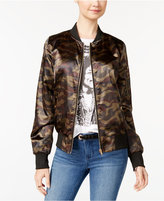 Say What Juniors' Camo Bomber Jacket