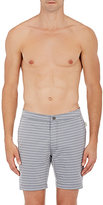 Onia MEN'S CALDER STRIPED SWIM TRUNKS-GREY SIZE 38