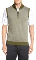 Bobby Jones Men's Quarter Zip Herringbone Merino Wool Sweater Vest