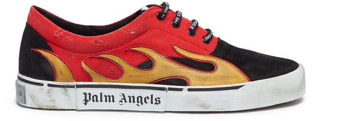 Palm Angels 'Distressed Flames' leather patch colourblock sneakers