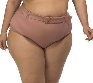 LYSA Blush Belted Bikini Swim Bottom Plus Size - Olivia
