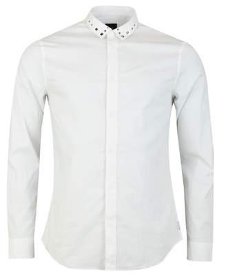 Armani Exchange Stud Collar Regular Fit Poplin Shirt Colour: BLACK, Si