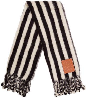 Loewe Mohair Stripes Scarf Blanket in White & Black | FWRD