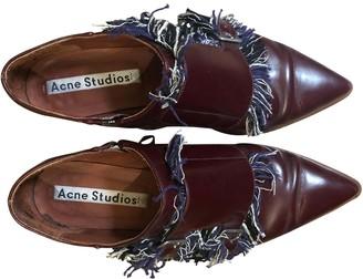 Acne Studios Burgundy Leather Lace ups