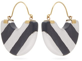 Vanda Jacintho - Striped Half-moon Resin Earrings - Navy