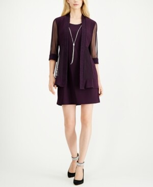 R & M Richards Petite Jacquard Dress & Jacket