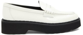 Tod's Flatform Patent-leather Penny Loafers - White