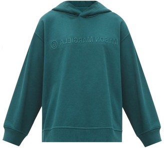 MM6 MAISON MARGIELA Embossed-logo Cotton-jersey Hooded Sweatshirt - Dark Green