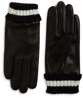 Kate Spade Knit Cuff Leather Gloves