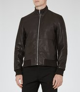 Reiss Bruno - Funnel Neck Bomber Jacket in Brown, Mens