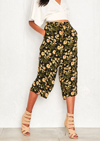 Missy Empire Kato Green Floral Detail Wide Leg Culottes