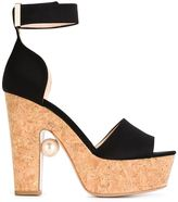 Nicholas Kirkwood 120mm 'Maya' sandals - women - Cork/Leather/Satin - 40