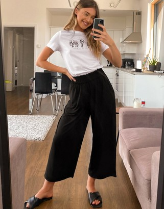 ASOS DESIGN culotte pants with shirred waist in black